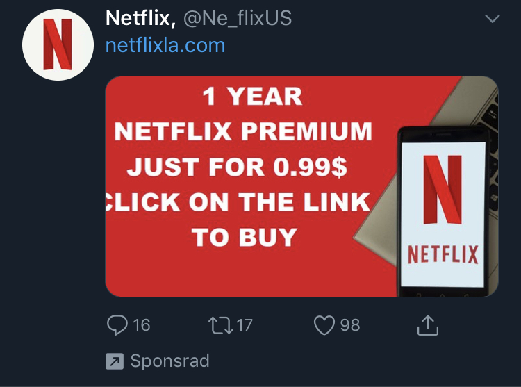 Netflix Scam advertised on Twitter – Skadligkod se En